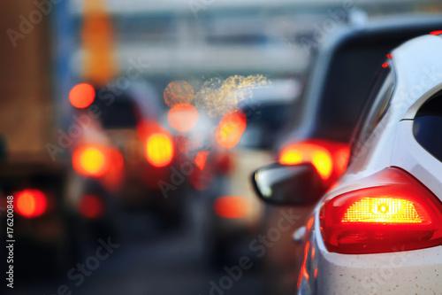 Poster Nacht snelweg Evening traffic jam in the city