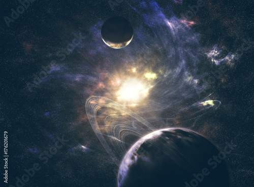 Tuinposter Heelal Space. Sci fi. A stars, planets, nebulas.