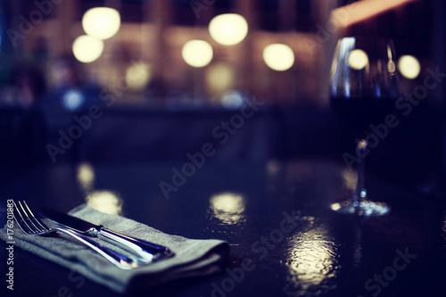 glass restaurant table wine serving