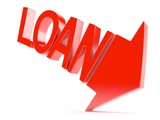 Red arrow with loan text concept - 176202092