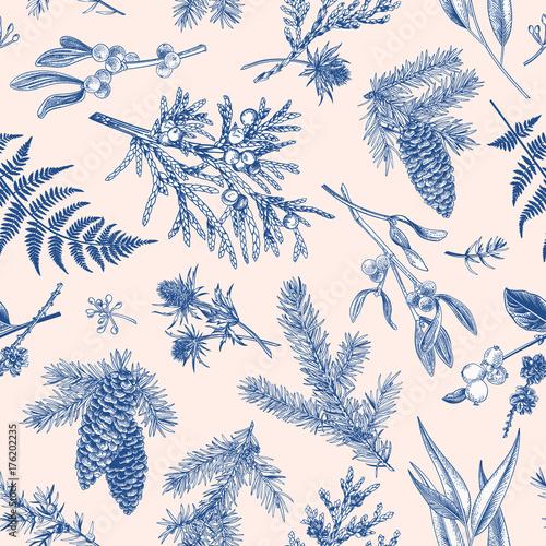 Cotton fabric Christmas seamless botanical pattern.