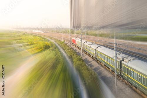 Aluminium Nacht snelweg A Benz train