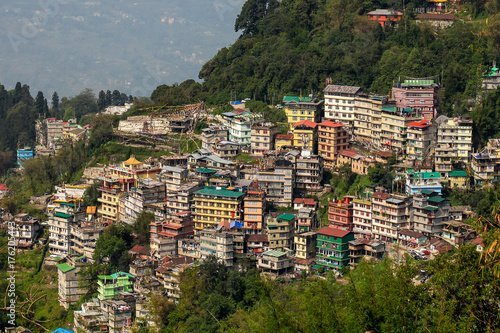 Village on mountains in Sikkim, India