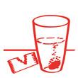 Handgezeichnetes Tabletten-Symbol in rot
