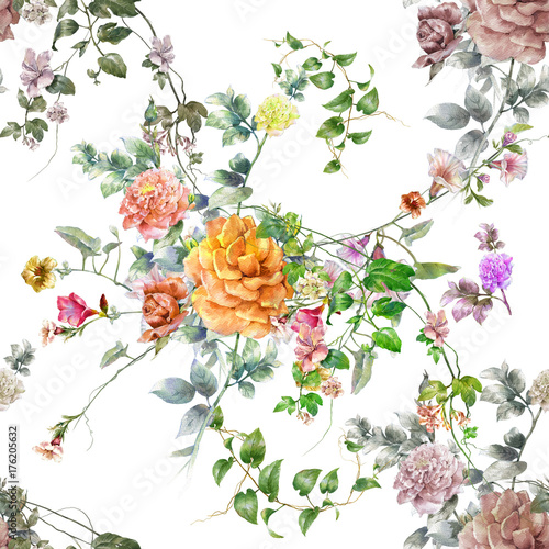 Watercolor painting of leaf and flowers, seamless pattern on white background - 176205632