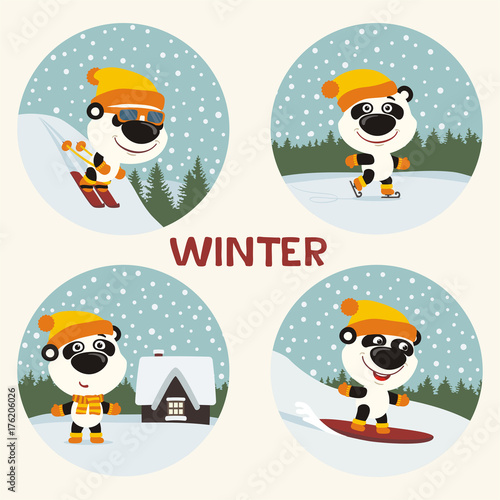 Fototapeta Winter. Collection of panda bear on skis, skates, snowboard. Set of funny panda is engaged in winter sports, stands near the house against the background of snowflakes.
