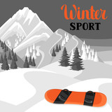 Winter landscape with snowboard. Snowy mountains and fir forest - 176206462