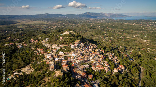 Old town between sea and mountains at central Corfu Greece.