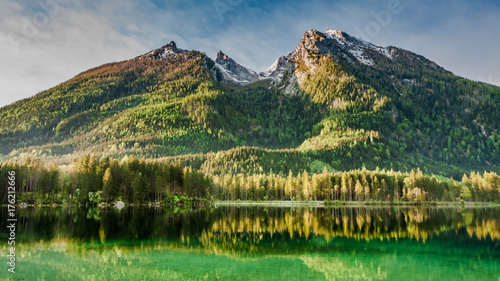 Sunrise at Hintersee lake in Alps, Europe