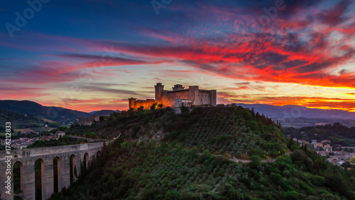 Stunning sunset over the castle in Spoleto, Italy, Umbria