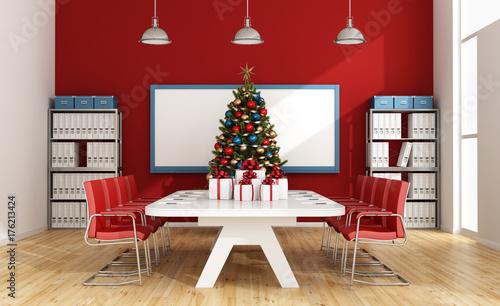Board room with christmas tree
