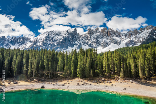 Breathtaking mountain Carezza lake in spring, Alps, Italy © shaiith