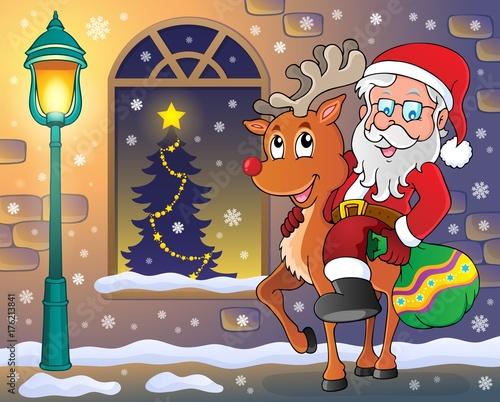 Deurstickers Voor kinderen Santa Claus on reindeer in town