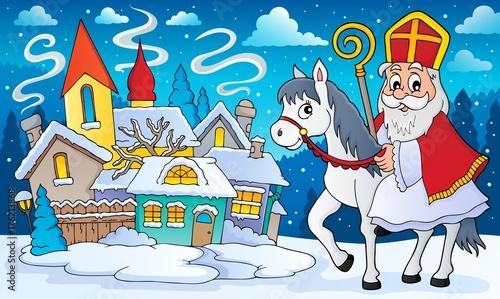 Deurstickers Voor kinderen Sinterklaas on horse theme image 8