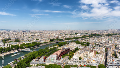 Poster Parijs Aerial view of Paris Skyline from Eiffel Tower in Paris, France