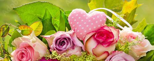 Fridge magnet Herz und Rosen