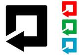 Icono plano flecha reinicio cuadrado varios colores - 176219282