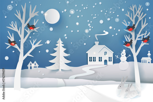 Fotobehang Blauwe jeans Paper cut and craft winter landscape with evergreen tree, house, snowman, moon and snowflakes. Holiday nature and christmas tree. Web banner. Vector illustration. Merry Xmas. Outdoor design