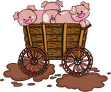 Three pigs on wooden trolley - 176220296
