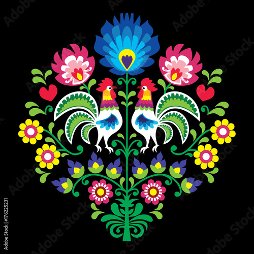 Polish folk vector pattern with roosters - floral design Wzory Lowickie Wycinanka on black - 176225231