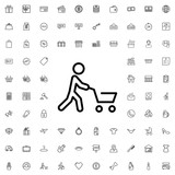 Man with shopping cart icon. set of outline shopping icons. - 176226826