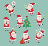 Set of vector characters. Santa Claus. Cute Holiday Set
