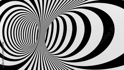 Fototapeta Black and white abstract vector tunnel