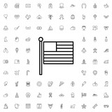 American flag icon. set of outline holiday icons. - 176230434