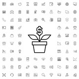 Money flower icon. set of outline finance icons. - 176230686