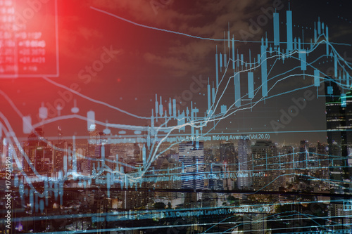 Stock exchange graph chart analysis global financial statistic data  - 176231498