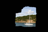 Moored yacht at English Harbour Entrance - 176232804