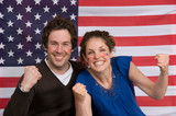 Couple smiling with American flag - 176233061