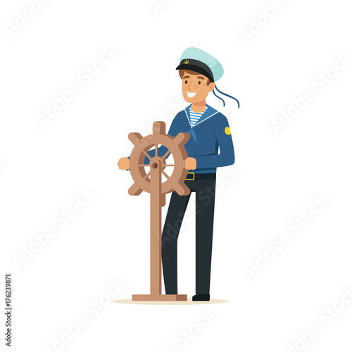Sailor man character in blue uniform gripping wooden ship wheel vector Illustration