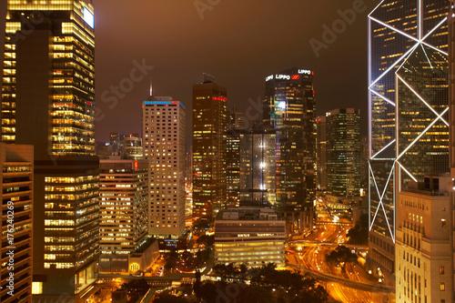 Central hong kong by night