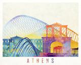 Paris landmarks watercolor poster - 176240603
