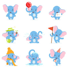Cute elephant character set, funny baby elephant in different poses and situations vector Illustrations