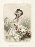 Old illustration depicting woman smelling flowers. By  Alophe, publ. in New York, 1851 - 176244636