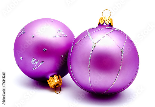 Christmas decoration lilac magenta balls  isolated Plakat