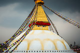 Boudhanath stupa in Kathmandu, Nepal. Stormy clouds in the background. - 176254475