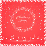 Christmass songs cover illustration. Musical background with notes - 176257092