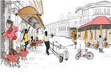 Series of the street cafes with people, men and women, in the old city, watercolor vector illustration. Waiters serve the tables.  - 176257818