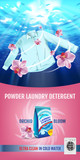 Orchid fragrance Laundry detergent ads. Vector realistic Illustration with shirt is washed in water and product package. Vertical banner