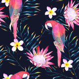 Tropical seamless pattern with parrots, protea, plumeria and leaves. Watercolor summer print. Exotic hand drawn illustration