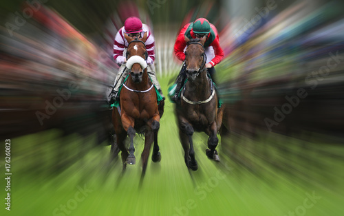 horse race action Motion blur effect