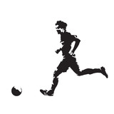 Soccer player running with ball, abstract vector silhouette - 176263471