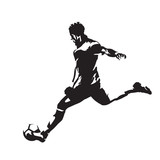 Soccer player running with ball, abstract vector silhouette - 176263473