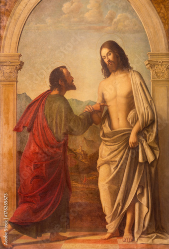 Aluminium Jezus Christus LONDON, GREAT BRITAIN - SEPTEMBER 18, 2017: The painting of Christ appearing to the doubting Thomas in church Immaculate Conception, Farm Street based on a original by Cima da Conegliano.