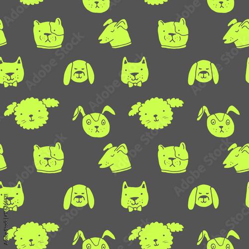 obraz lub plakat Vector seamless pattern with dogs. Hand drawn ink illustration, sticker design
