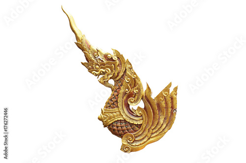 golden dragon horse statue crafting painting color isolated with white backgroun Poster
