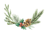 Watercolor vector Christmas wreath with fir branches and place for text. - 176272644